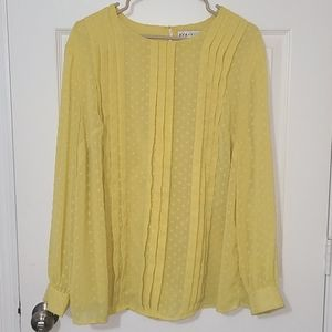 Ava & Viv yellow long sleeve blouse with pleats.
